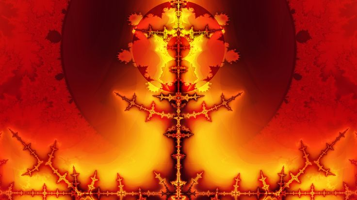 Supernatural Bible fractal of the Angel of the Lord holding the blazing rod of Revelation 11.