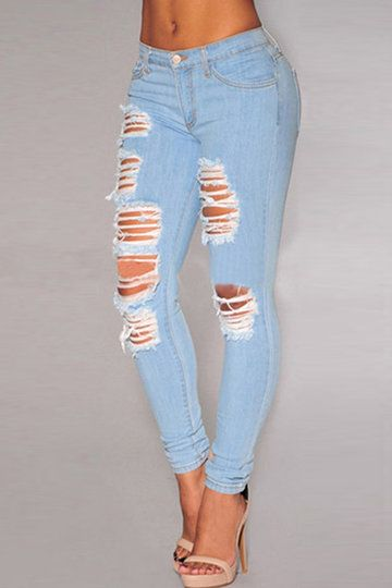 Best 25  Light blue ripped jeans ideas only on Pinterest | Cute ...