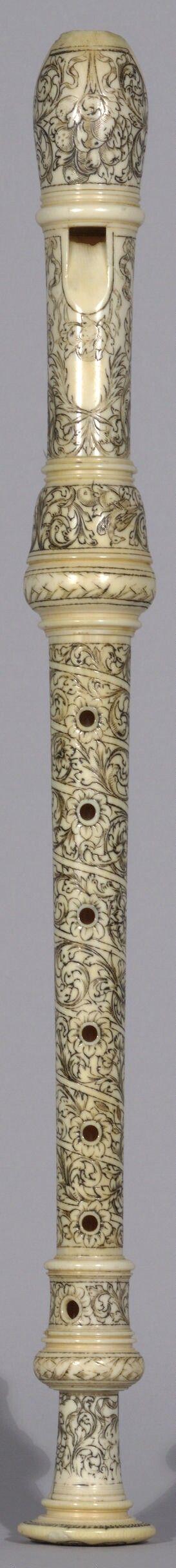 Carved Ivory Alto recorder (Johann Benedikt Gahn, 1698-1711)