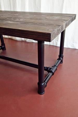 Handmade Wood and galvanized pipe coffee table - $275 (Venice)