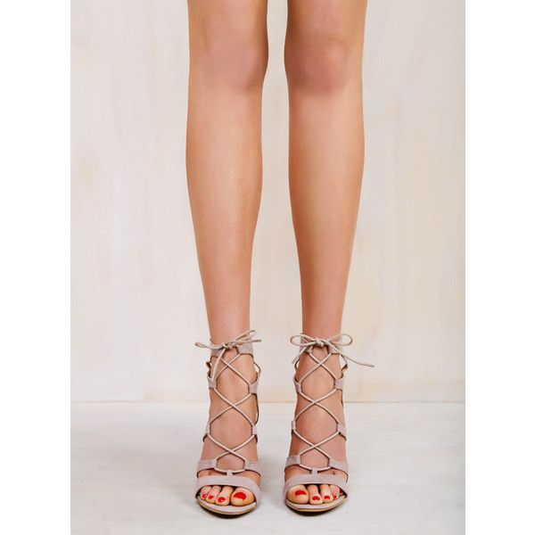 Billini Oasis Heels Nude ($71) ❤ liked on Polyvore featuring shoes, pumps, nude court shoes, nude high heel shoes, suede lace up shoes, nude suede shoes and laced shoes