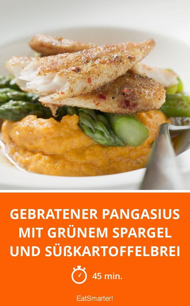 Gebratener Pangasius mit grünem Spargel und Süßkartoffelbrei - smarter - Zeit: 45 Min. | eatsmarter.de