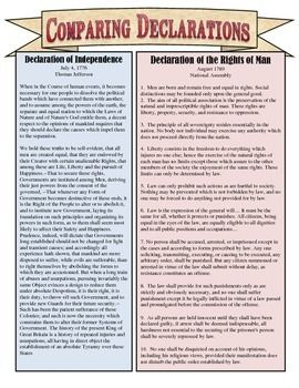 compare and contrast the declaration of independence and the constitution