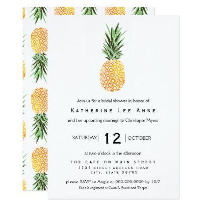 Pineapple Southern Bridal Shower Invitation - invitations custom unique diy personalize occasions