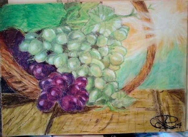Still life, oil pastels on paper 25X35 cm ca.