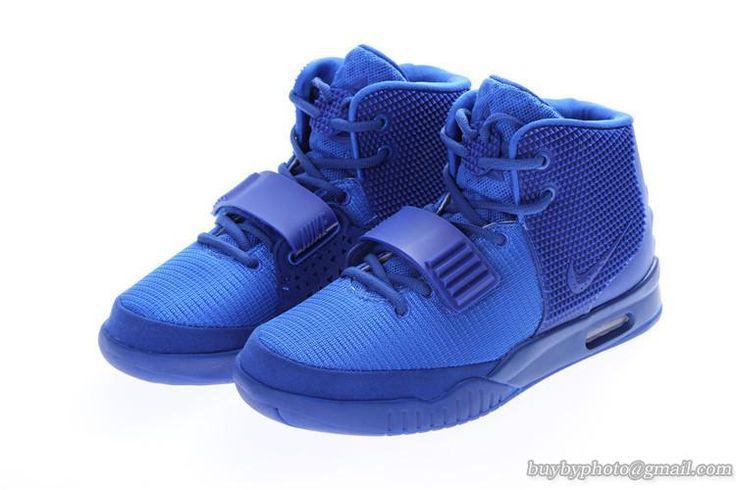 NIKE AIR YEEZY 2 Yeezy II NRG KANYE WEST Basketball Shoes All Blue #YEEZY2#KANYE #Yeezy II #popular