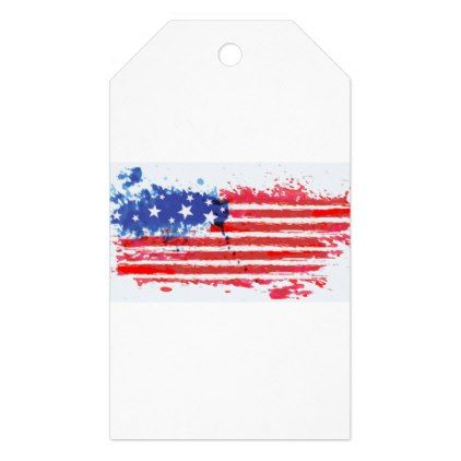 #watercolor grunge American Flag Gift Tags - #LaborDay Labor Day #labor #day #patriotic #summer #barbecue #bbq #party