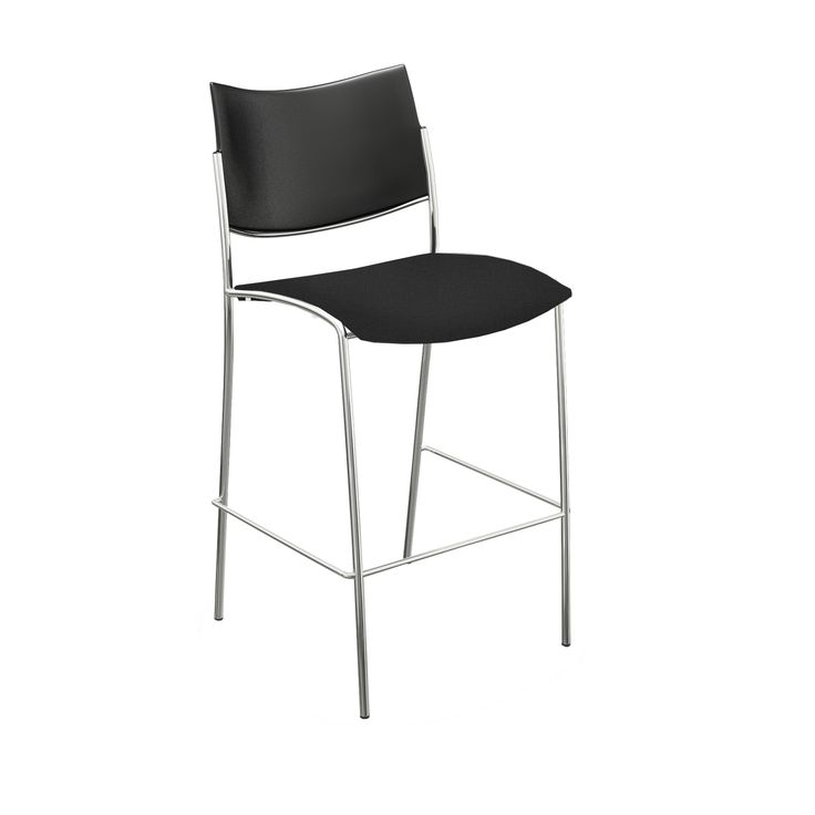 Mayline Escalate Series /Chrome Metal Cushioned Stool with Back