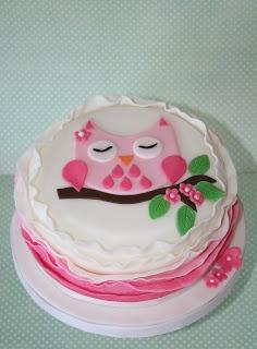 Pink owl baby shower cake