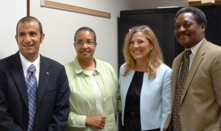 Delaware Division of Child Support Enforcement Deputy Director Ted Mermigos; Gwen Anderson, social service senior administrator; DHSS Secretary Rita Landgraf; and Director Charles Hayward.