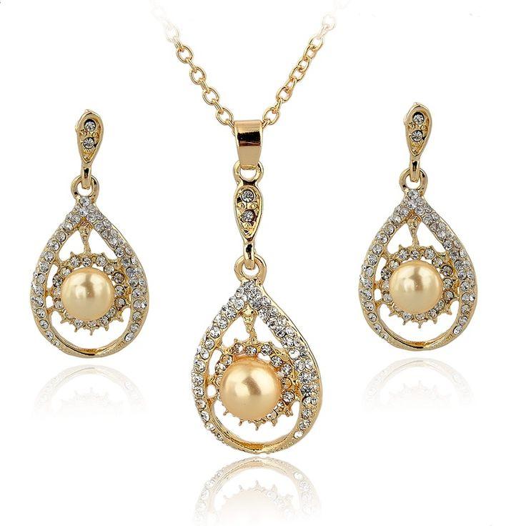 Оптовая продажа 2014 мода золото имитация жемчужные украшения компл.
