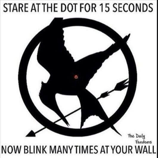 Mockingjay: Stare at the dot for 15 seconds, then stare at a blank wall & blink. :)