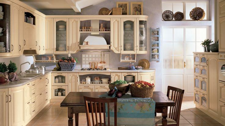 Margot kuchyňská linka do rohu světlá v rustikálním stylu / rustic kitchen
