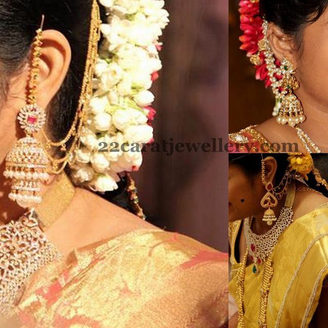 Jewellery Designs: Steps Jhumkas with Side Ear Chains