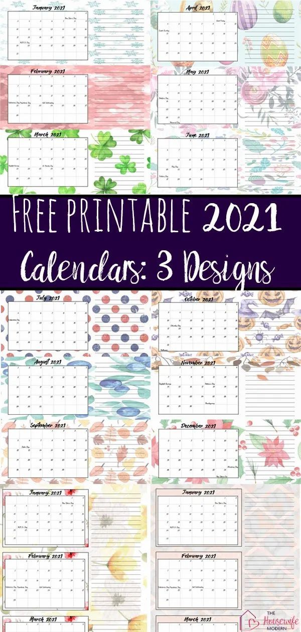 Free Printable 2021 Quarterly Calendars With Holidays 3 Designs Calendar Printables Free Printable Calendar Free Printables