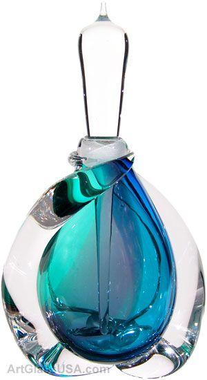Buzz Blodgett http://artglassbygary.com/American-GlassMasters/Buzz-Blodgett/Swirled-Perfume-Bottle-Blue-Multi-p121.html