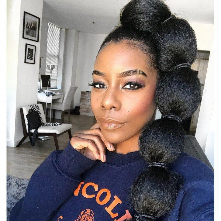 Afro Puff Bubble Ponytails Are Trending On Instagram Bubble Ponytail Ponytail Styles Marley Hair