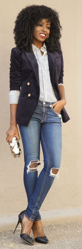 Navy Velvet Tall Schoolboy Blazer by Style Pantry.... Love this look, jacket, blouse, jeans, heels