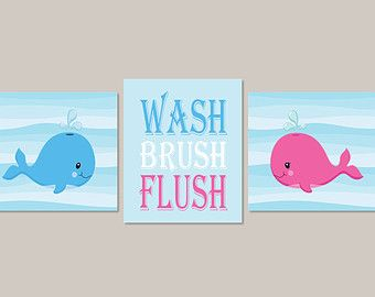Charming Whale Bathroom Wall Art Girl Boy Bathroom Decor Sea Life Wash Brush Flush  Wall Art Bathroom
