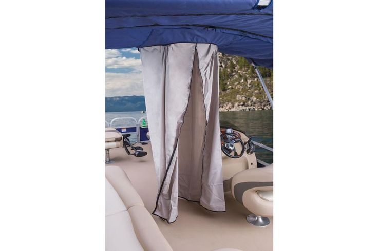 Changing room/privacy curtain drops down from Bimini top http://www.exclusiveautomarine.com/product/fishin-barge-20-dlx