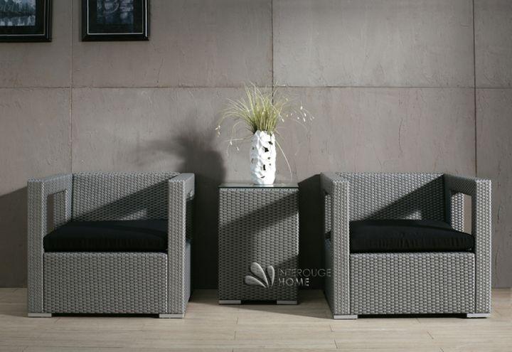 Salon de jardin résine tressée, gris, RILASA, 4 places | Interouge Home