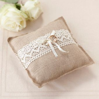 Hessian Ring Cushion Vintage Wedding Ring by KatesPartyShop, £9.99