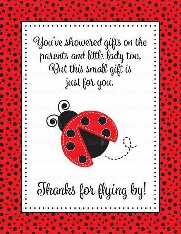 Thank You Favor Sign   Printable Download   Red Black Ladybug Baby Shower  Decorations   B10002