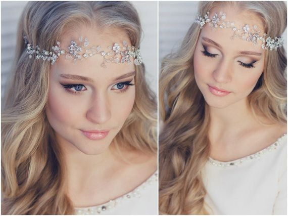 Bridal Halo Bridal Hair Vine Tiara Diadem Veil Chaplet Bridal Hairpiece / http://www.deerpearlflowers.com/wedding-hairstyle-with-bridal-headpieces/
