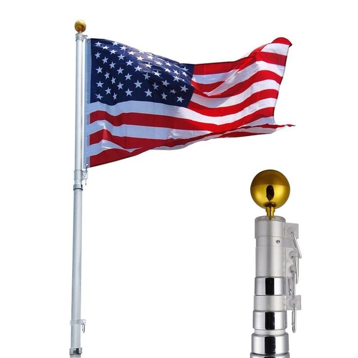 $55.95 w/free shipping 25ft Aluminum Telescoping Flagpole Kit Outdoor Gold Ball + 1 US America Flag New #Unbranded