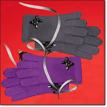 """Jeweled Glove* Faux-stone accents. One size fits most. 8 3/4"""" L with 3 1/2"""" cuff. Acrylic. Hand wash and dry. Imported. Purple, Grey Brochure + Gift Guide: $7.99 each pair"""