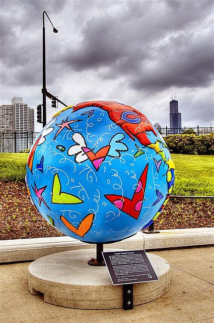 The World by Romero Britto Chicago, IL (Sears Tower in background)  by nicoatridge, via Flickr.