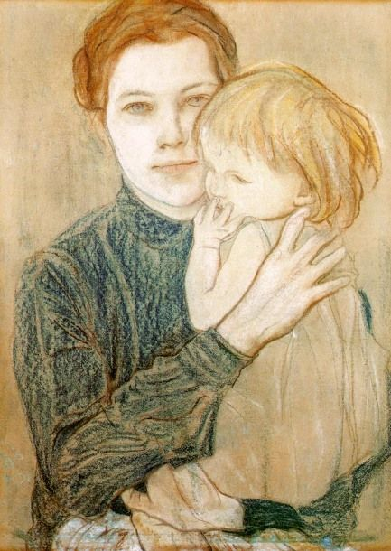 Portrait of Salomea Hankiewiczowa and Her Daughter - Stanislaw Wyspianski