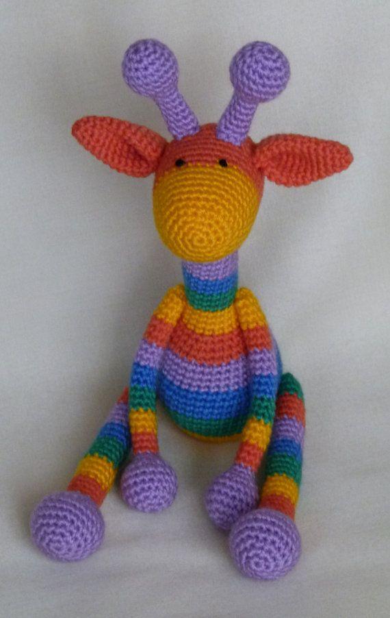 Crochet Toys For Boys : Rainbow giraffe amigurumi crochet toy baby soft