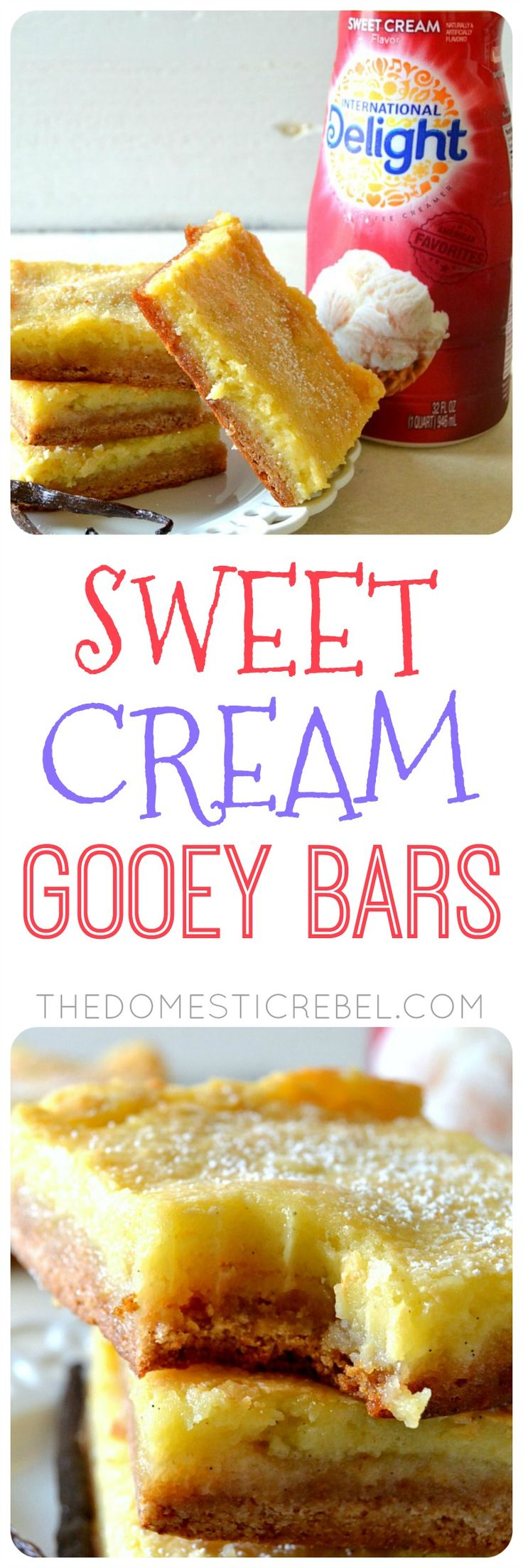 These Sweet Cream Gooey Bars are fabulous! They taste like melted vanilla bean ice cream but in a gooey, chewy bar form! Made with International Delight Sweet Cream Coffee Creamer & fresh vanilla beans for a lovely and delicious bar recipe!