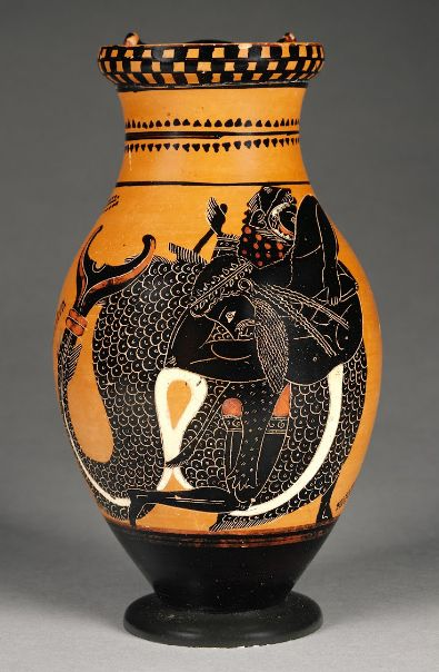 Pitcher with Herakles Wrestling Tritonabout 520 - 510 B.C. Athens, Greece. Chiusi Painter (Greek, active 520 - 510 B.C.)   The J. Paul Getty Museum