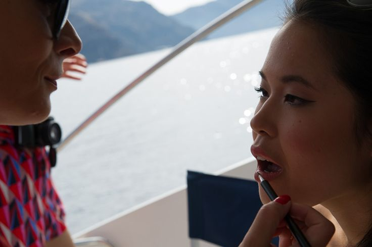 Final touch-ups before our on-board after wedding photoshoot