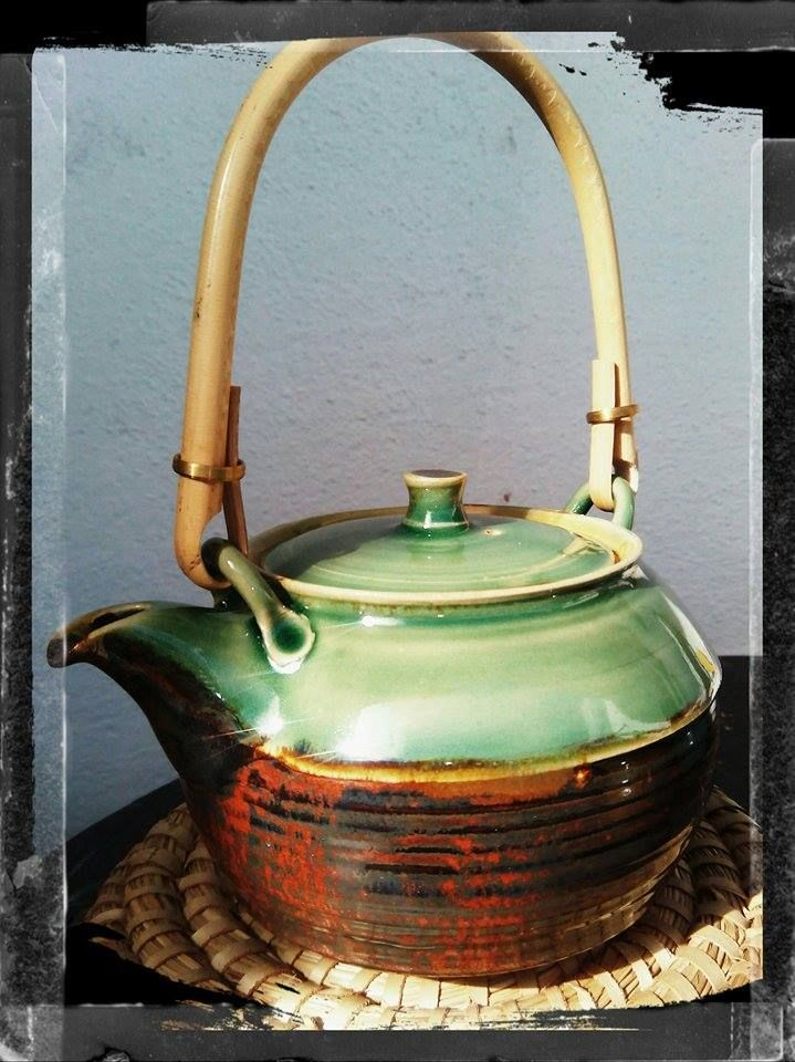 handmade stoneware teapot with handle...