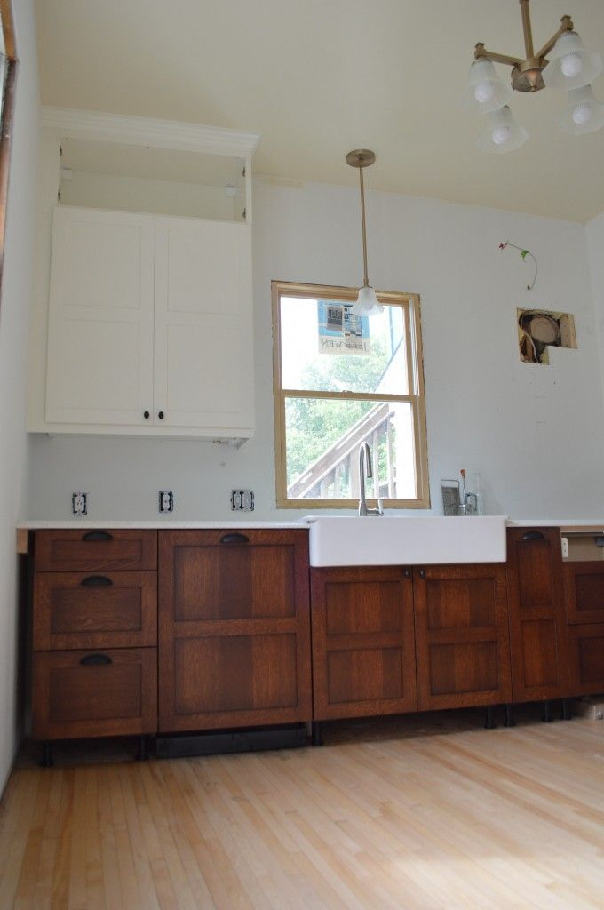craftsman style kitchen remodel; Scherr's cabinet doors on IKEA boxes.