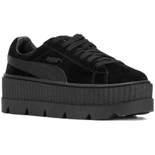 Fenty X Puma Cleated creepers (3,995 THB) ❤ liked on Polyvore featuring shoes, black creeper shoes, puma footwear, puma creeper, creeper shoes and puma shoes