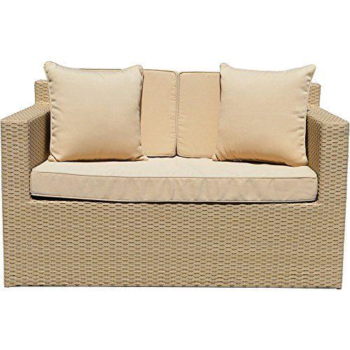 Richmond Outdoor Rattan Garden 2 Seat Sofa in Natural All Weather Furniture