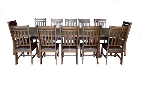 Norval Dining SKU: PKGNH2400  Solid Mahogony with a rustic wood finish.  Extension table with 2 leaves. The Upper Room Home Furnishings, Ottawa's Premier Home Furniture Store.