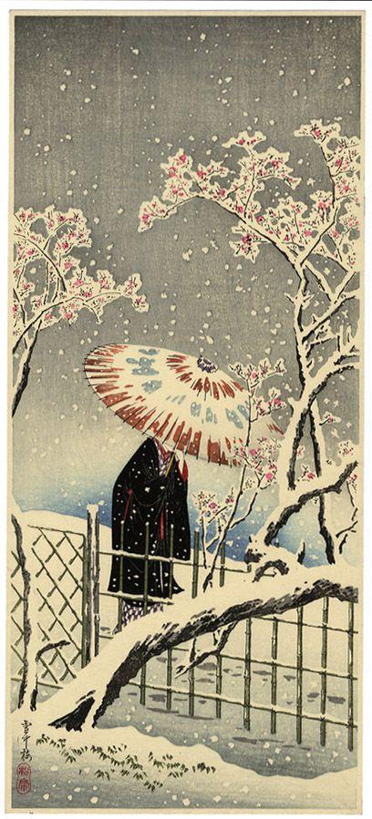 Takahashi Hiroaki dit Shotei (高橋 弘明, 1871-1945). Plum Blossom in Snow, 1936.