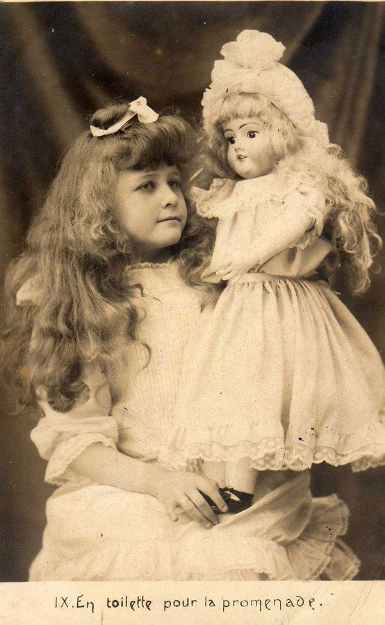 Vintage Antique Photo of Girl with Doll