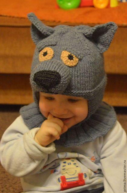 """Шапка """"Волк"""" Авторская работа - серый,однотонный,шапка для мальчика,шапки для детей"""