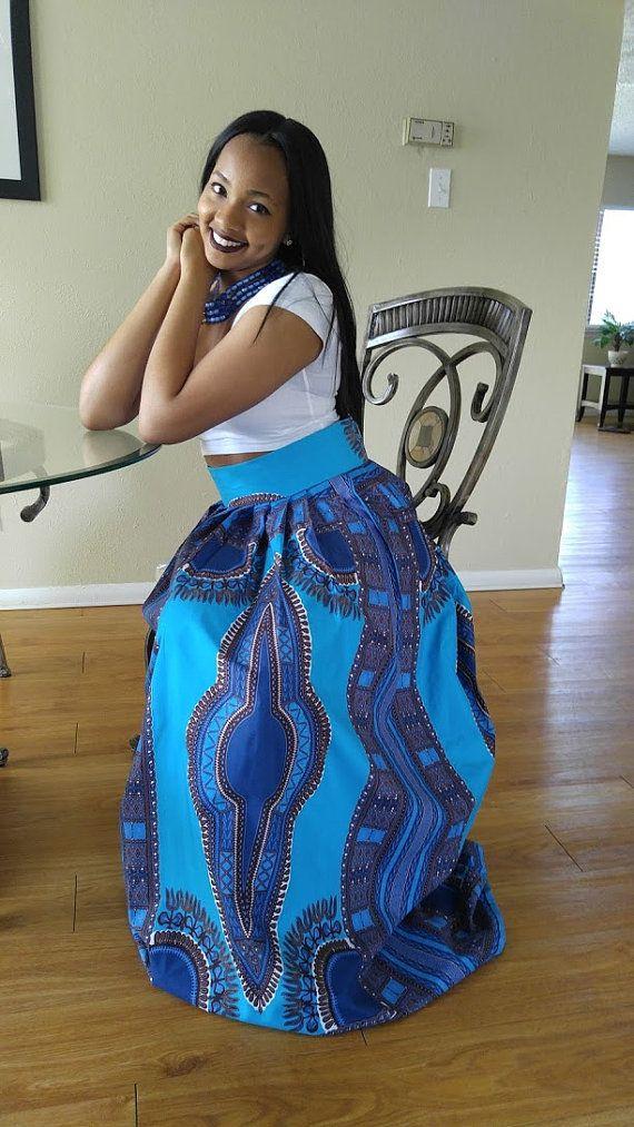 Dashiki skirt dashiki maxi skirt African print maxi by Oludan