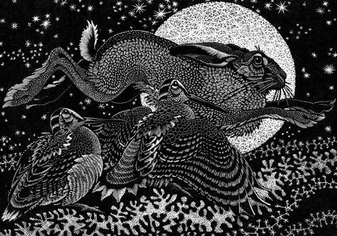 Colin See-Paynton ~ Nocturnal Encounters - Hare and Woodcocks ~ Wood Engraving, 15.5 x 18 cm