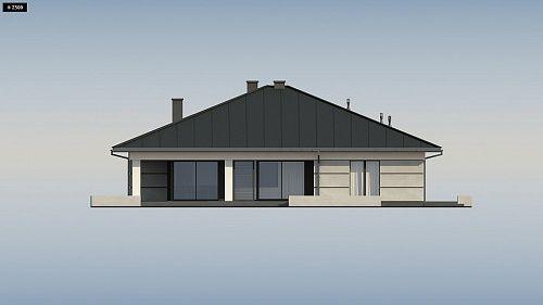 Проект ститьного одноэтажного дома с просторной террасой и с гаражом на два автомобиля S3-186-5 (Z378). Фасад 3. Shop-project