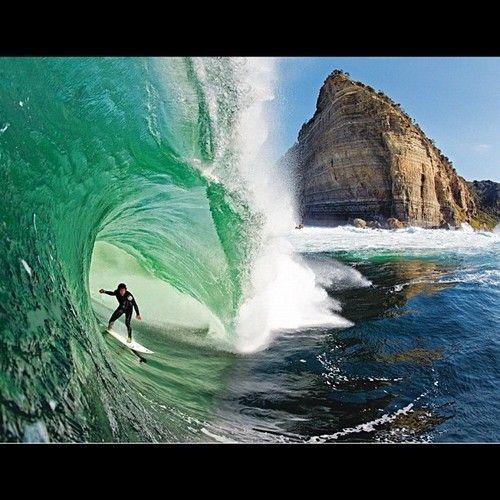 photograph a surfer inside the tube, Tasmania