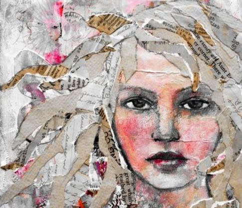 Mixed-media collage by Rachelle Panagarry. #portrait #mixed-media #collage - Wonderful torn paper hair.