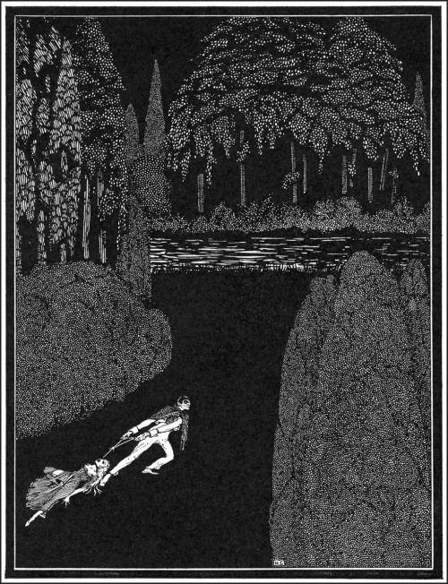 """В своем утомительный путь к воде его страхи удвоит внутри него.  Гарри Кларк, Иллюстрация к """"Тайна Мари Роже"""" из рассказов Эдгара Аллана тайны и воображения, 1923 (источник)."""